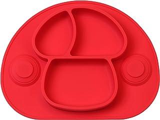 DEBAIJIA Bebé Niños Plato de Silicona Fuerte Succión Ventosa Divididas Placemat Grado Alimenticio Infantil Antideslizante FDA y Sin BPA, Microonda, Lavavajillas, Congelador Seguro - Rojo