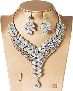 Colorful Crystal Drip Banquet Bride Two-Piece Set Two-Piece Female Fashion Necklace (Color : White, Size : One Size)