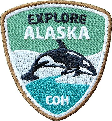 Club of Heroes 2 x Alaska Aufnäher 55 x 60 mm gestickt/hochwertige Applikation mit Orka Wal/Abzeichen Aufbügler Flicken Bügelbild Patch/Patches zum aufbügeln auf Kleidung Rucksack/Outdoor Reise Sport