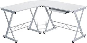 Merax Schreibtische L Form Computertisch PC-Tisch Bürotisch Arbeitstisch (Weiß)