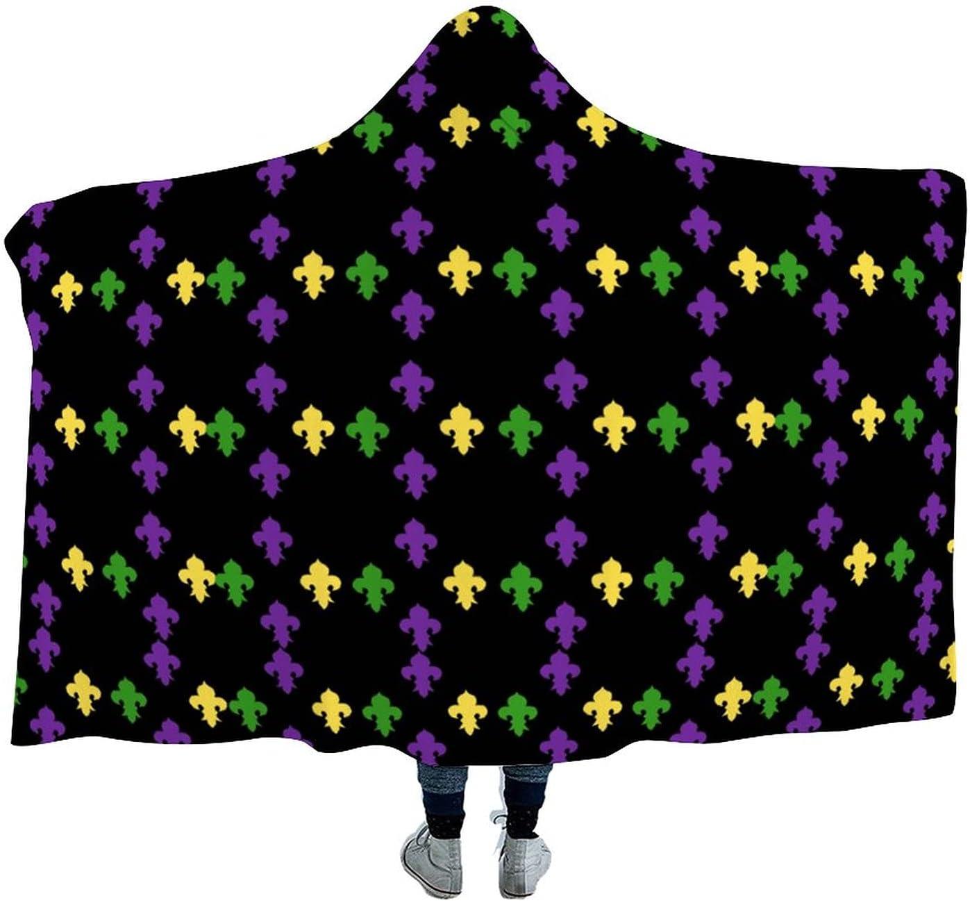 Mardi Gras Fleur De Surprise price Lis Wearable W for Cloak Hooded Blanket Soft Be super welcome