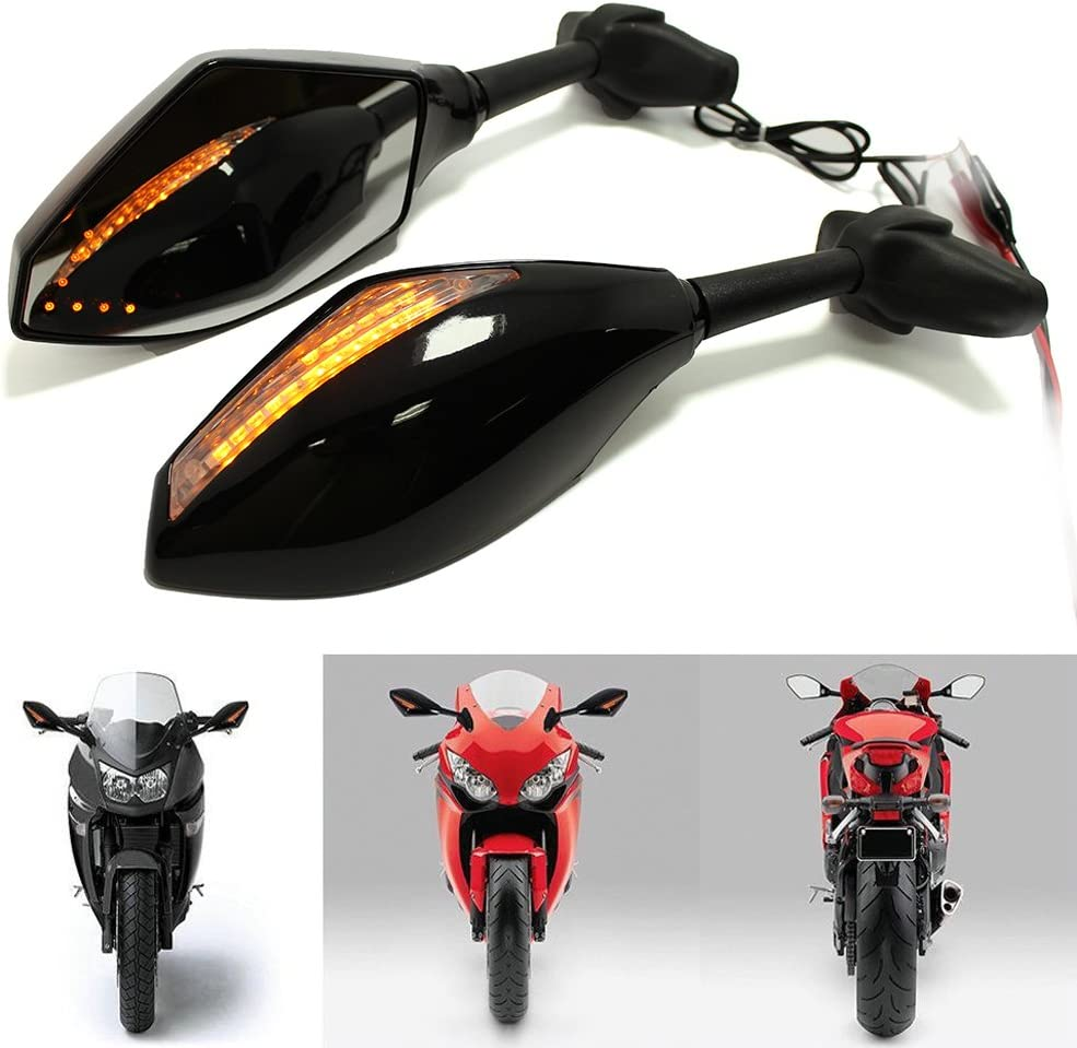 Glossy Black+Smoke lens+blue arrow light Motorcycle Led Turn Signal Indicator Rearview Mirrors for for Honda CBR1000F CBR600F CBR900RR Yamaha YZF FZ1 FZR600
