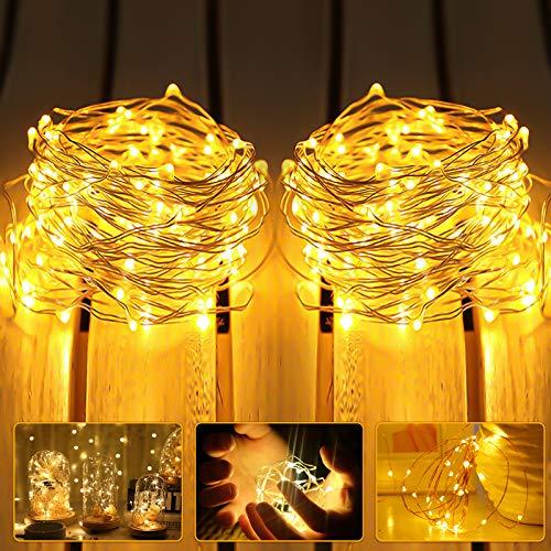 LED Lichterkette Batterie, 2 Stück 3m 30er Micro LED IP65 Wasserdicht Warmweiß Lichterkette Kupferdraht Innen Batteriebetrieben String Beleuchtung für Party, Garten, Weihnachten, Hochzeit