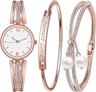 Souarts Women's Gift Set-Rhinestone Watch Free Engraving Bracelet Forever Love Faux Pearls Bracelet Jewelry Round Mesh Quartz Watch Bracelet Jewelry Set