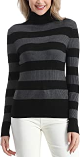 Rocorose Women's Solid Basic Long Sleeve Turtleneck Sweater Pullover