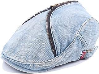 Forward Cap Beret Cap Wool Ladies Washed Denim Men's Retro Zipper Caps Accessories (Color : Light blue, Size : 56-58cm)