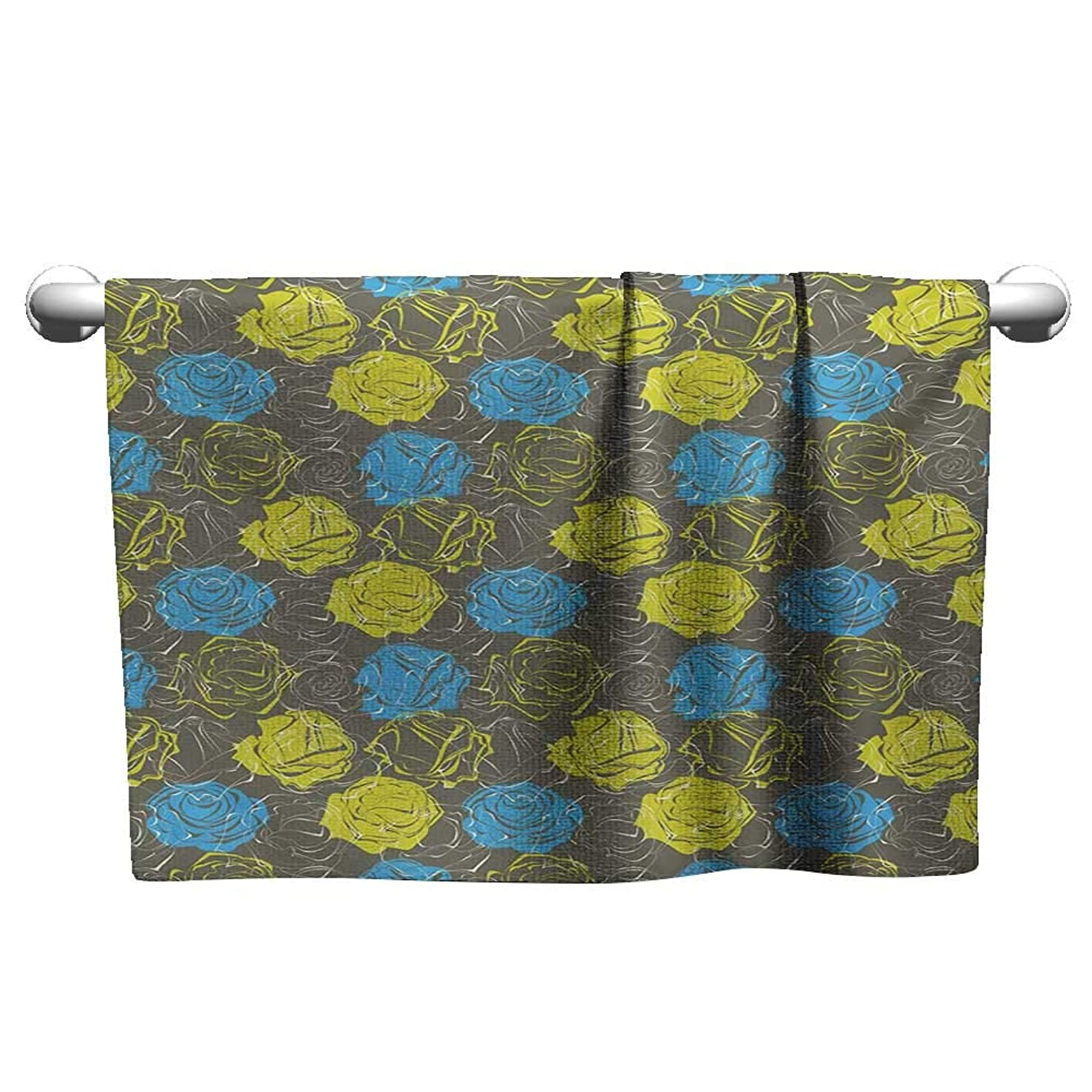 Floral,Wash Towels Blossoming Rose Petals Romantic Bouquet with Vintage Inspirations Microfiber Towels for Body Azure Blue Yellow Green Grey W 20