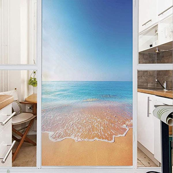 Decorative Window Film No Glue Frosted Privacy Film Stained Glass Door Film Golden Beach And Tropical Sea Scenery With Endless Sky On The Back Summer Sun Peace Print For Home Office 23 6In By 35 4I
