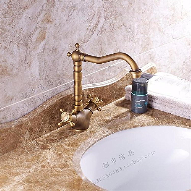 HL-All copper antique faucet, European double headed faucet, basin faucet, hot and cold faucet, bathroom faucet and high platform basin,A