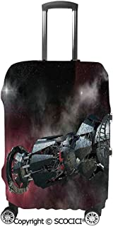 SCOCICI Spaceship in Interstellar Travel on a Galactic Starfield Alien Fantasy Science Fiction Suitcase Cover Protective Luggage Cover Customized Fits 19-32 Inch