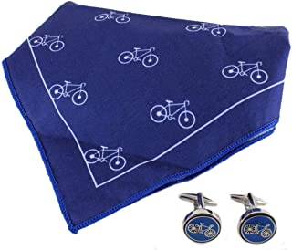 David Van Hagen Mens Bike Handkerchief and Cufflink Set - Blue/White