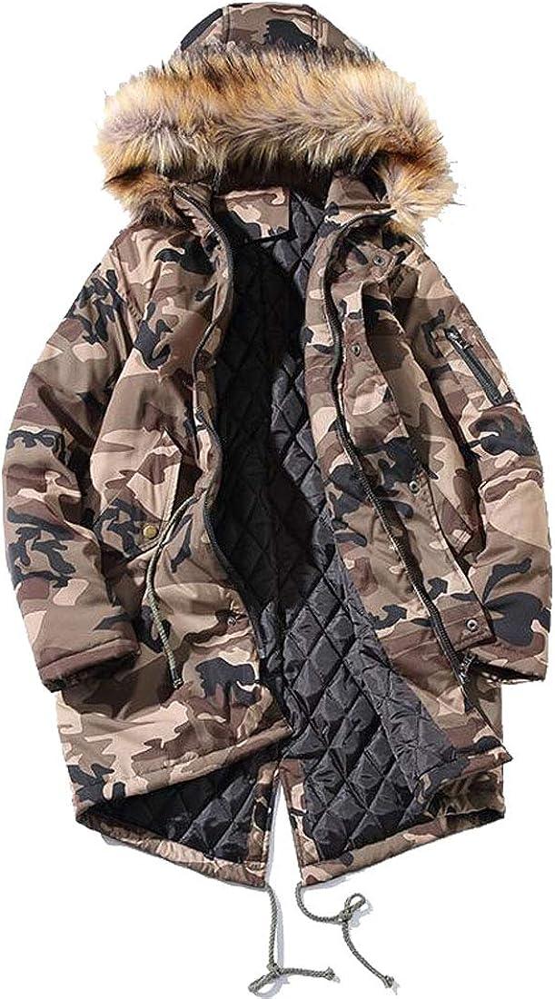 HZCX FASHION Men's Winter Cotton Down Coats with Fur Hood Camo Fishtail Parkas
