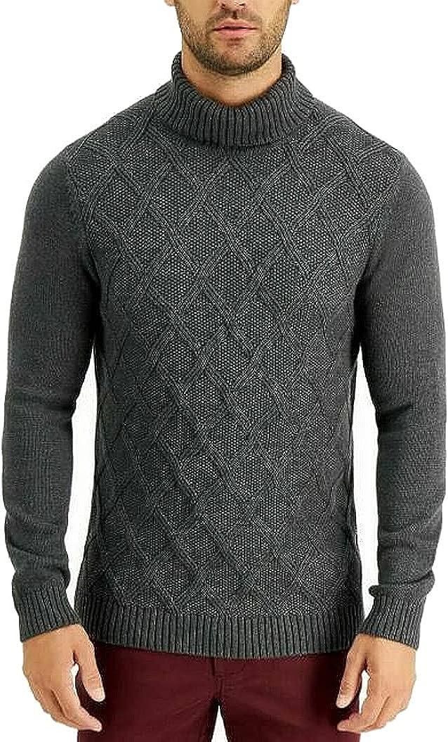 Tasso Elba Mens Sweater Medium Pullover Chunky Turtleneck Gray M