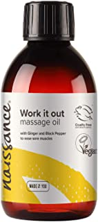Naissance 'Work it Out' Aches & Pains Massage Oil 250ml - 100% Natural Blend of Grapeseed Oil with Ginger, Black Pepper, R...