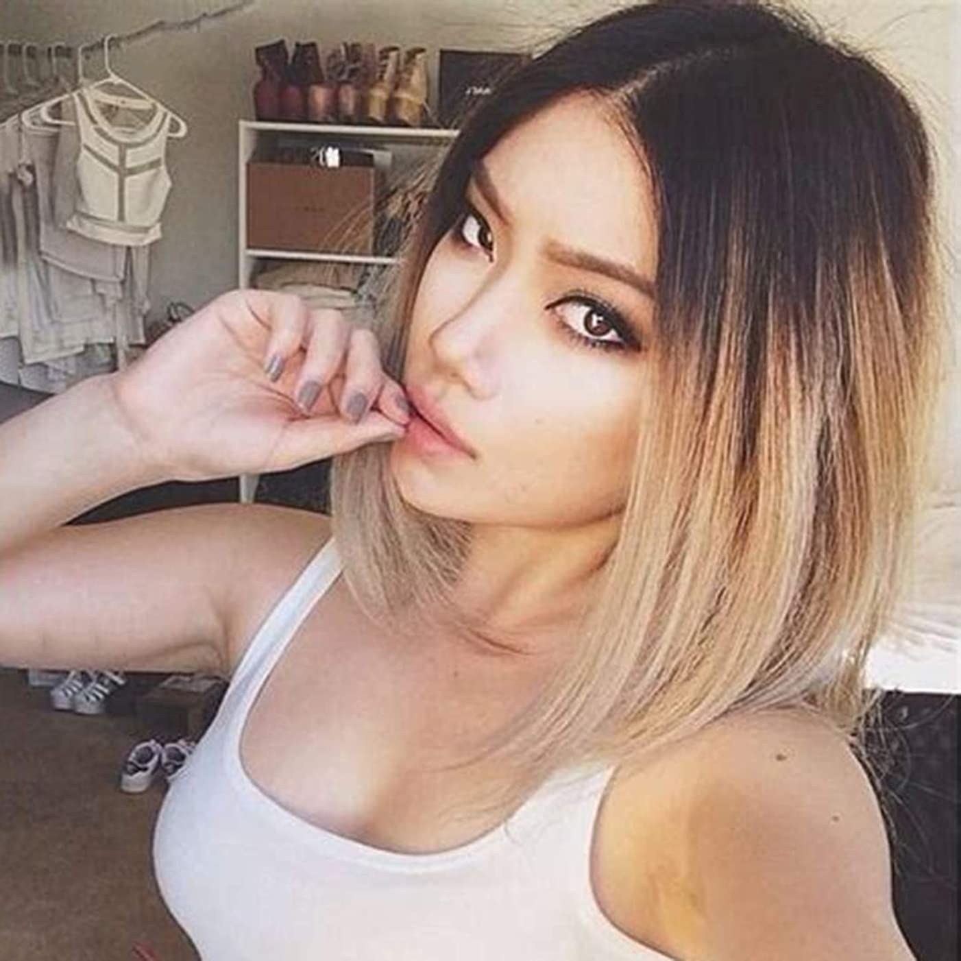Usexy Short Lace Front Human Hair Wigs Ombre Brown Color Two Tone #1B/27 Straight Bob Wigs For Black Women Brazilian Virgin Hair Lace Wig Middle Part 130% Density 14 Inch