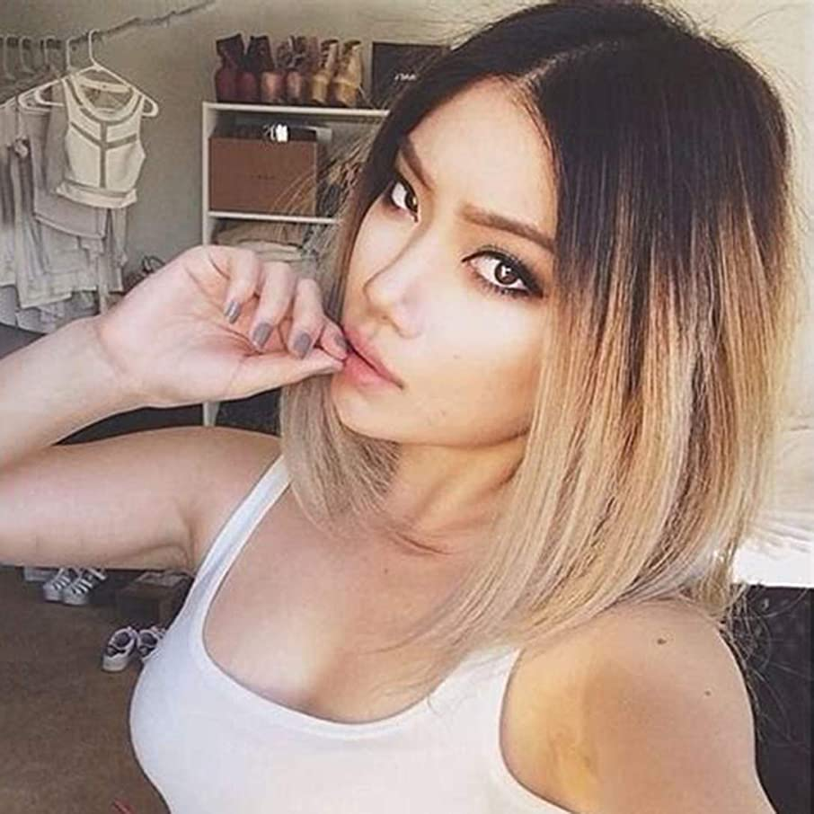 Usexy Short Lace Front Human Hair Wigs Ombre Brown Color Two Tone #1B/27 Straight Bob Wigs For Black Women Brazilian Virgin Hair Lace Wig Middle Part 130% Density 10 Inch