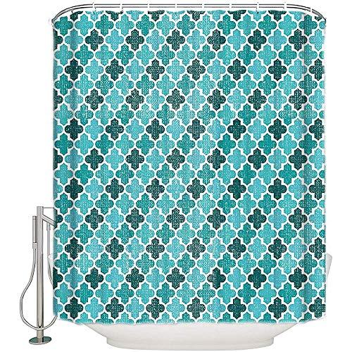 Searster$ Shower Curtain Marokko Lido Quatrefoil Geometric Figure Stoff Duschvorhang Teal Badezimmer Dekor Sets Mit Haken,72X72 In