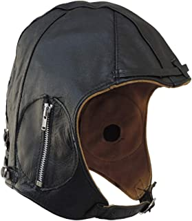 Aviator Black Leather Vintage WWII Hat