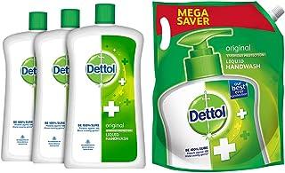 Dettol Original Liquid Soap Jar - 900 ml (Pack of 3) and Dettol Liquid Hand wash Refill Original -1500 ml