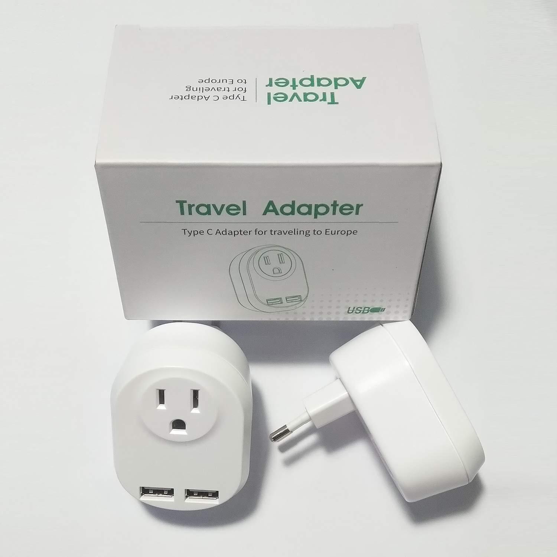 Adaptador de Enchufe Europeo con Cargador USB: Viaje de Estados Unidos a Europa (excluyendo Reino Unido/Irlanda/Escocia), Tipo C, Blanco [2 Unidades]: Amazon.es: Electrónica