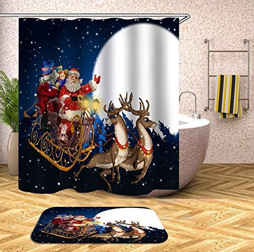 N / A Weihnachtshaken Bad Duschvorhang mit Bad Vorhang 3D Duschvorhang Blumenstoff Weihnachten Familie wasserdicht Mehltau Duschvorhang A1 90x180cm