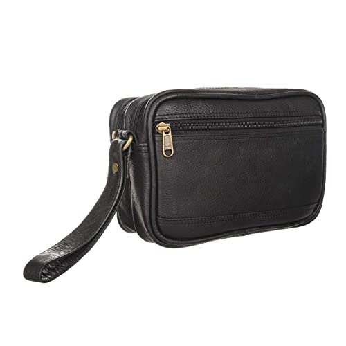 Sio Men's Leather Multipurpose Cash Pouch - Black
