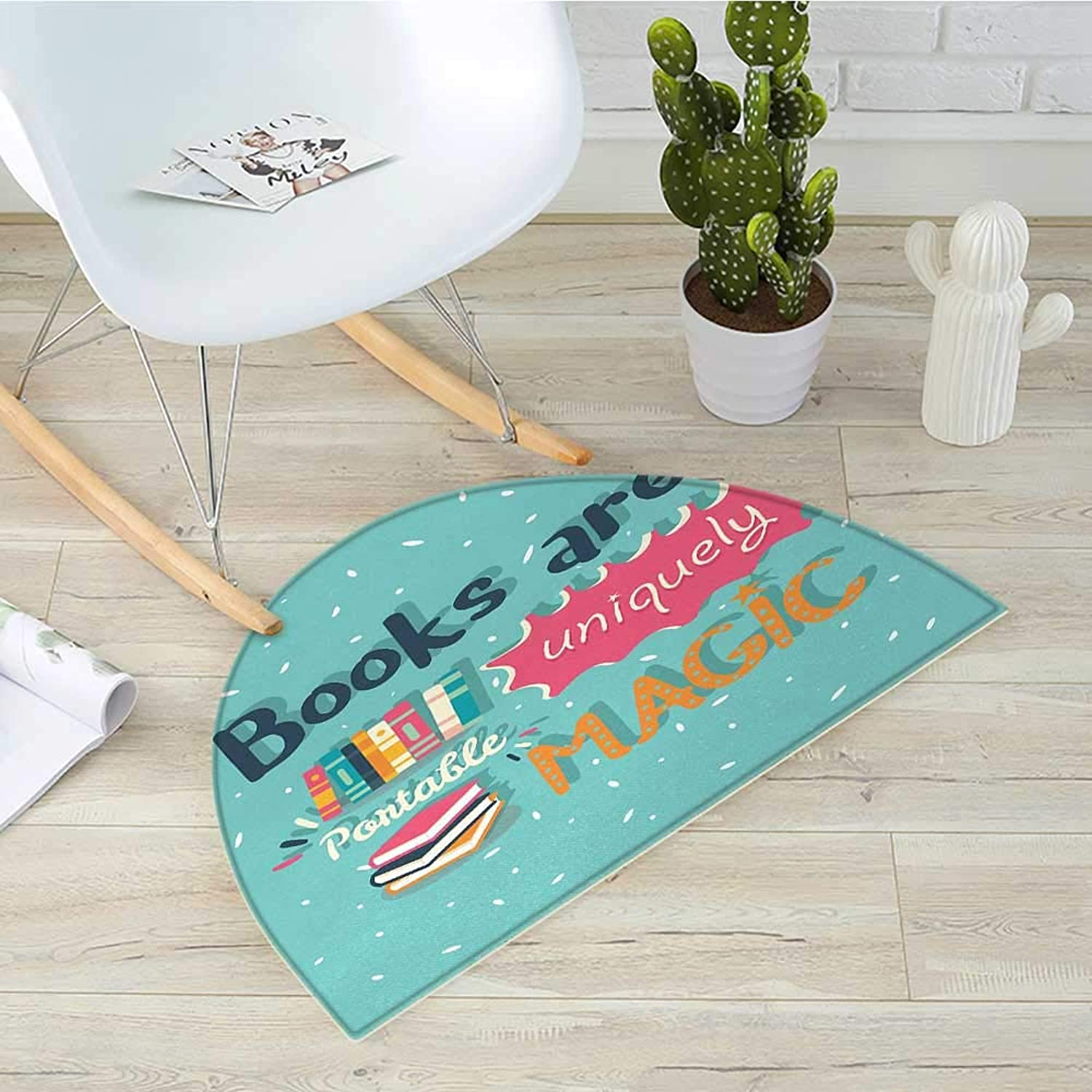 Book Semicircular CushionBooks are a Uniquely Portable Magic Inspirational Quotation Print in Pastel colors Entry Door Mat H 31.5  xD 47.2  Multicolor