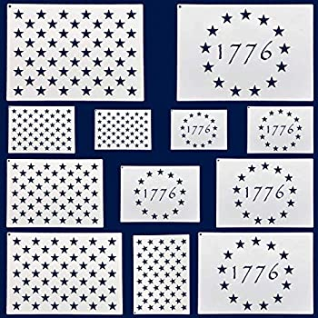 12 Pieces American Flag 50 Star Stencils and 13 Stars 1776 Templates American Flag Templates Ideal for Painting on Wood Fabric Paper Walls [6 Sizes 2 Styles]
