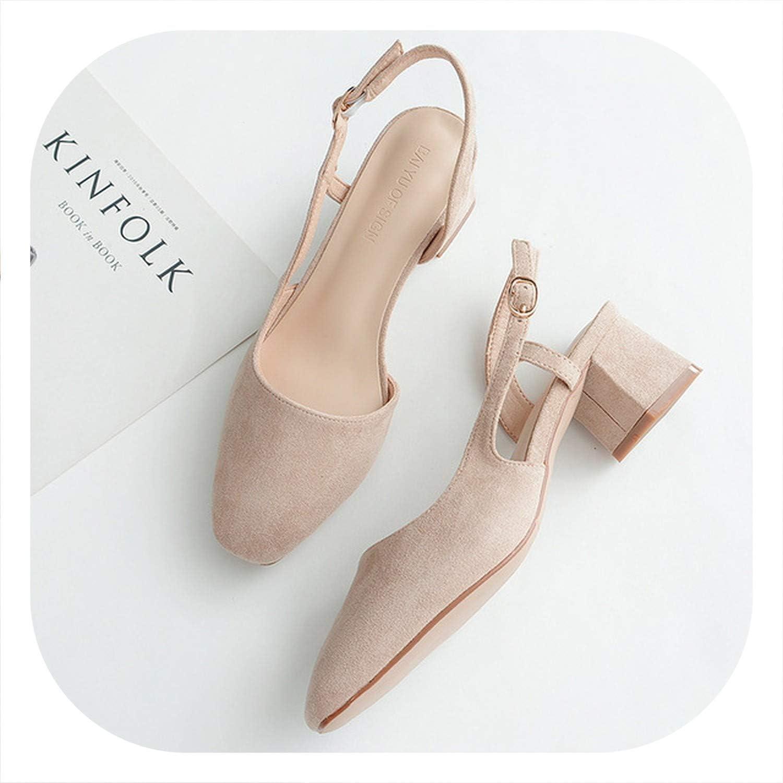 HANBINGPO High Heels shoes Woman Sandals 2019 Flock Square Slingback Pumps Wedding Party shoes