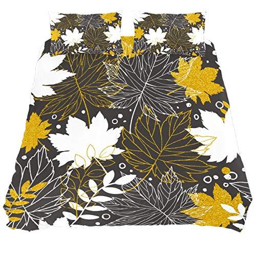 ASIGA - Juego de funda de edredón doble con diseño de hojas y flores, 3 piezas para ropa de cama para mujeres y hombres, ropa de cama