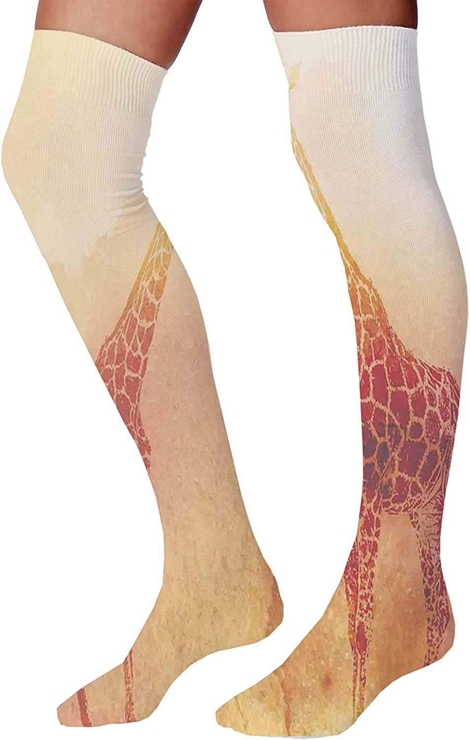 Men's and Women's Fun Socks,Illustration of Tropical Island Surfer on Sea Waves and Palms at Sunset