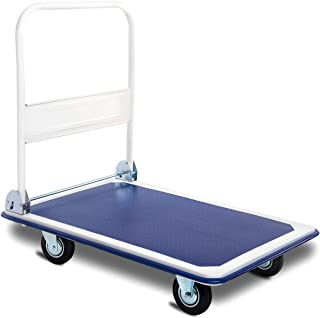 Goplus Folding Platform Cart, Hand Platform Truck Push Dolly, Rolling Flatbed Cart, Ideal for Heavy Grocery Loading (660 LBS, Blue)