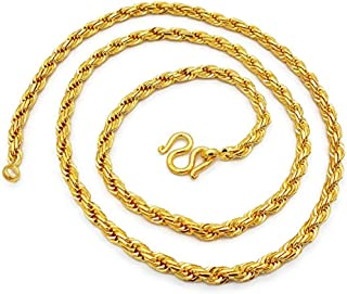 Rope Chain 24k Real Gold Plating Filled Necklace 22k 23k 24k Thai Baht 56 Grams 26 Inches Width 5 mm Fashion Jewelry for Women & Men's