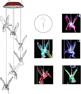 IMAGE Wind Chimes Solar Hummingbird Wind Chime Color Changing Lights Outdoor Solar Lights..