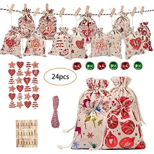 QUUY Kerstmis adventskalender tas, Kerstmis Countdown kalender, 24 stuks jute zakken + 24 clips + 24 digitale etiketten + 6 klokken + 10 m binddraad, DIY snoepgoed opbergtas