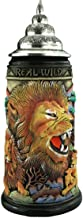 German Beer Stein Lion Stein ''The Mighty One'', 0.75 liter tankard, beer mug, rustic, hand-painted, with pewter lid