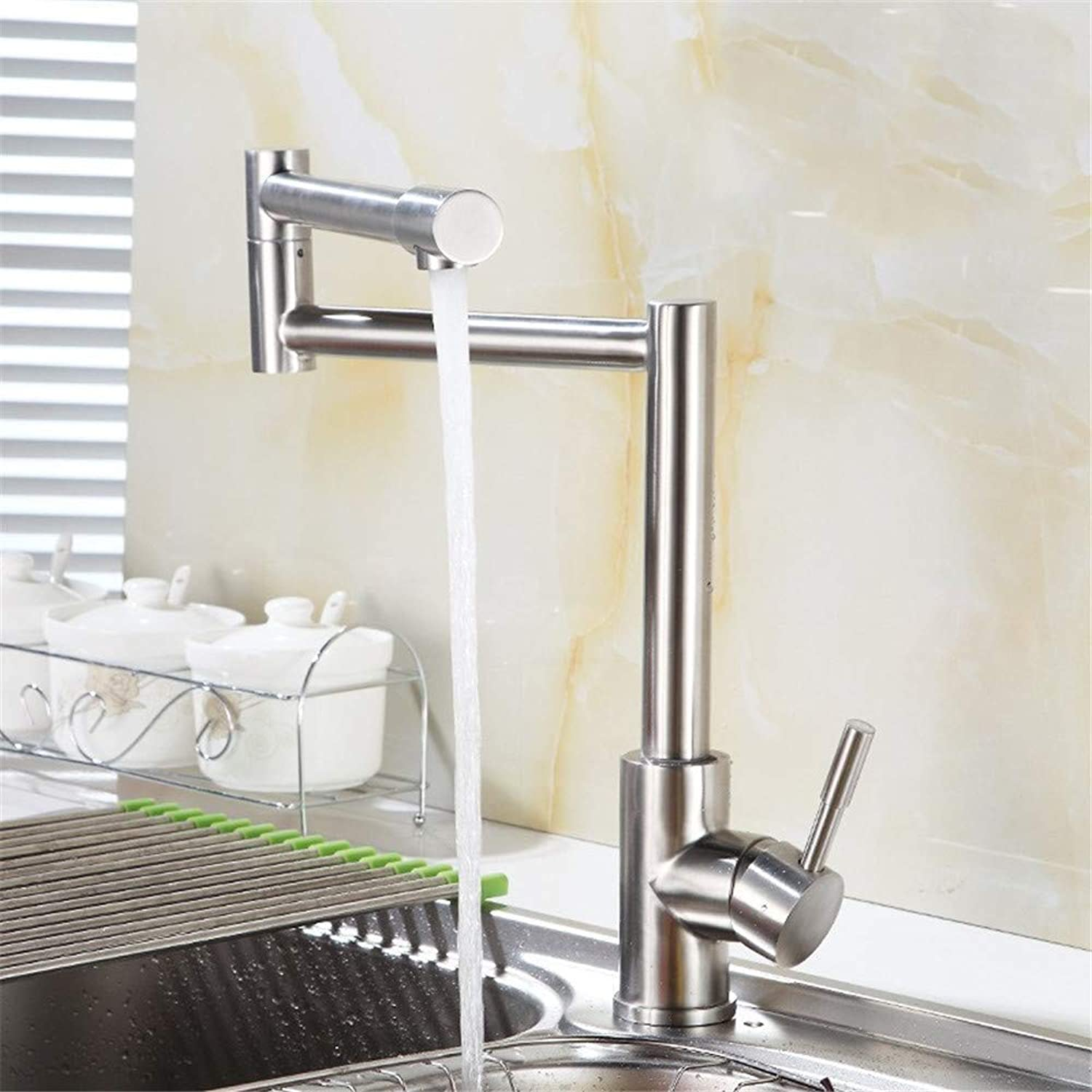 Oudan 304 Stainless Steel Faucet Unleaded Foldable Table Vegetables Basin Sink Faucet (color   -, Size   -)