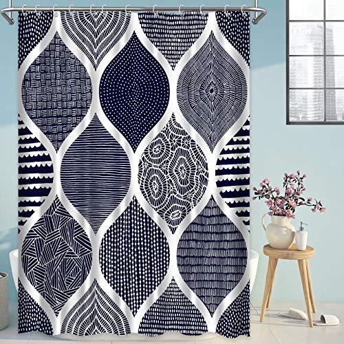 LORIE Blau-grauer Boho-Duschvorhang, böhmischer marokkanischer Bauernhaus-Duschvorhang für Badezimmer, moderne Heimdekoration, 183 x 183 cm