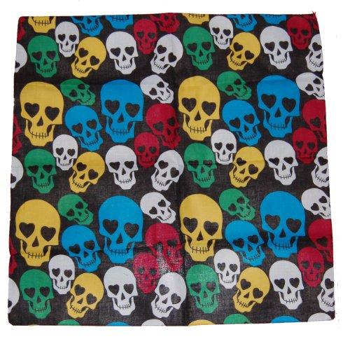 Bandana 100 % coton Motif crânes multicolores