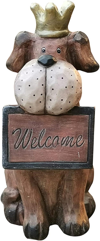 ZHXQ Garden Sculpture Cute Dog Welcome R Greeter Statue Rare Tall 18