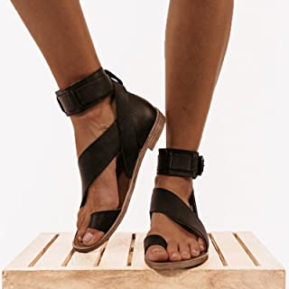 UULIKE Ete Femmes Chaussures Plates,Sandales à Enfiler Moraillon Bout Ouvert Ete Chaussons,Pantoufles Tongs Été Mode Loisi...