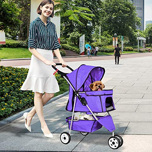 Best Home Product Pet Stroller for Small Dogs Cat Stroller 3 Wheels Dog Stroller for 2 Dogs Travel Folding Carrier Cat Dog Cage Stroller Carrier Strolling Cart with Cup Holders and Removable Liner