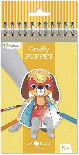 Avenue Mandarine GY007O - Un carnet à spirale Graffy Puppet 24 marionnettes à doigts pré-découpées à colorier 12x12 c...