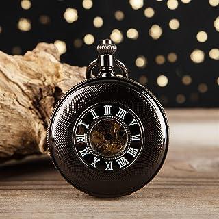 JIAN,Pocket watch Montre De Poche Mécanique Creux Nostalgique Noir, Montre De Poche Mécanique Romaine, Collier Flip Montre...