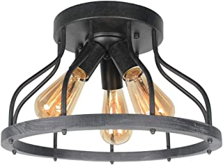 Beuhouz Round Rustic Semi Flush Mount Ceiling Light, Metal and Wood Farmhouse Ceiling Lighting Industrial Wire Cage Close to Ceiling Light Fixture 3 Light Edison E26 8030