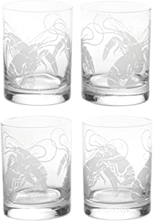 Mignon Faget Crawfish Double Old Fashioned Glasses, Set of 4