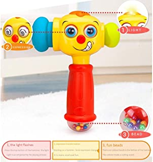 HHSDJ Baby hammer toy children beat and knock music baby plastic music puzzle tap toy expression change fun beads (Color :...