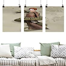 Pattern Oil Painting Art Fantasy Westernly Geisha with Cry Make Up Wrapped by Spiralling Dragon On Canvas Abstract Artwork 3 Panels 16x24inchx3pcs Eggshell Olive Green Brown