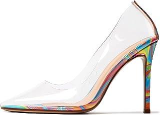 CASTAMERE Escarpins Femme Mode Transparent Aiguille Talon 10CM High Heels Shoes