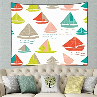 JANICEAI Sailing Boats Clip Art Tapestry Wall Hanging, Wall Tapestries - Summer Cool Psychedelic Wall Blanket for Bedroom, Dorm, Door, Room, 50